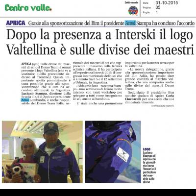 Dopo la presenza a Interski il logo Valtellina è sulle divise dei maestri